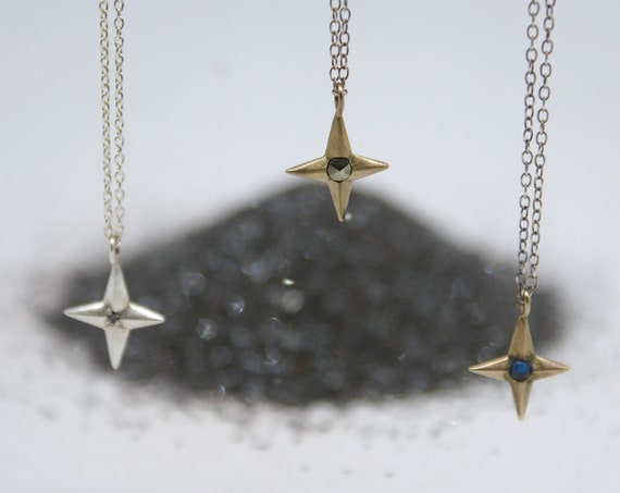 Compass Rose charm necklace with gem