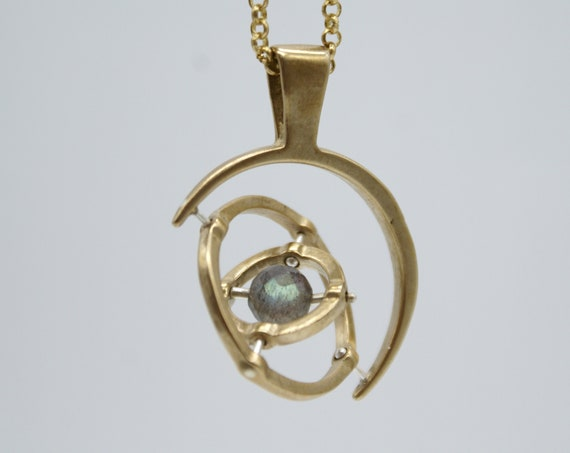 Gyroscope pendant necklace - 3-axis with labradorite