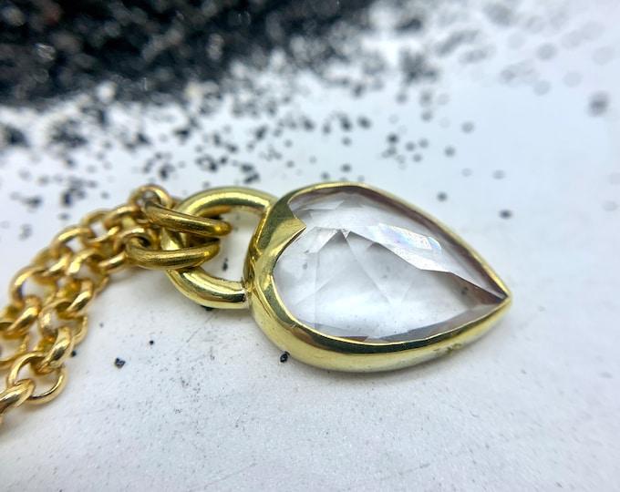 Heartlock Pendant, faceted quartz - Gemstone Padlock Necklace