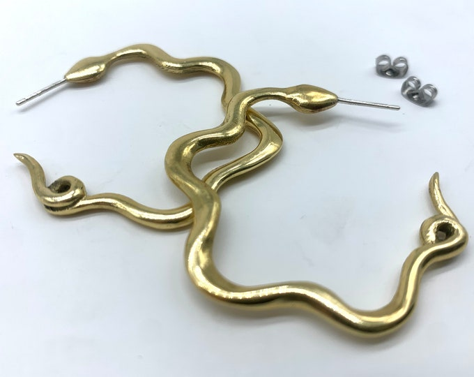 Snake Hoop earrings - bronze