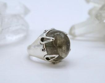 Tourmalinated Quartz + Black Diamond ring - size 8.25