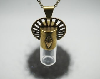 Vial capsule necklace with rollerball insert - Sun Halo