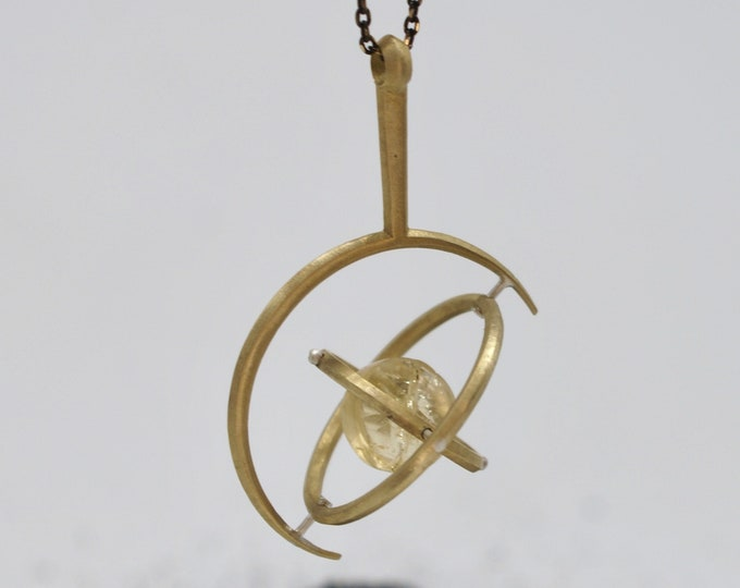 Gyroscope - 3-D Printed, brass + citrine