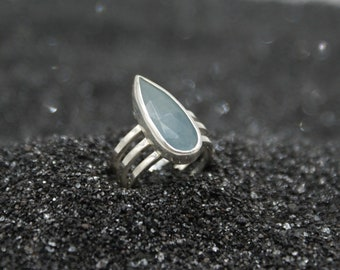 Aquamarine ring - size 6.25, sterling silver