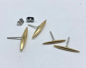Dart stud earrings - brass with silver posts