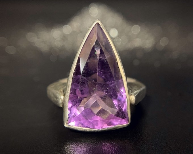 Amethyst Profile ring - size 7.75, sterling silver