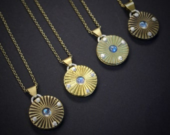 Sunray Coin necklace with moonstone