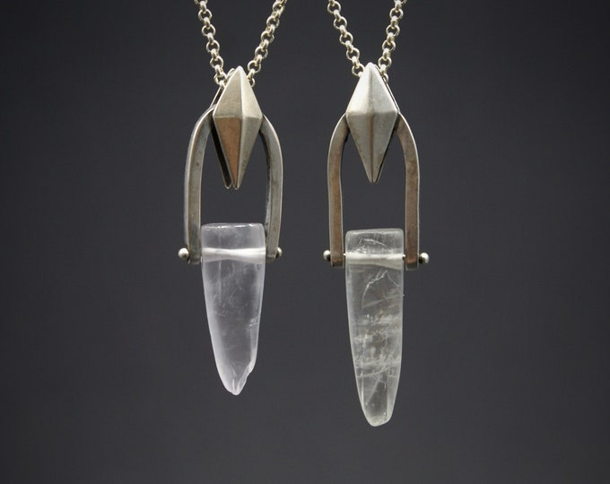 Swinging Kite pendant - Kunzite and sterling silver