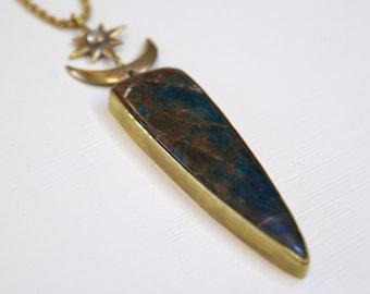 Crescent Blade pendant - apatite statement pendant with moonstone north star, bronze