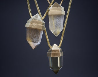 Crystal Capped pendants - bronze