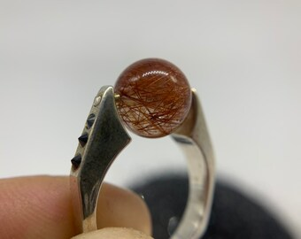 Rutilated quartz rolling ring with black diamonds and 14k gold accents, size 7.5, sterling silver