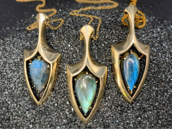 Windowed Shield pendants - labradorite