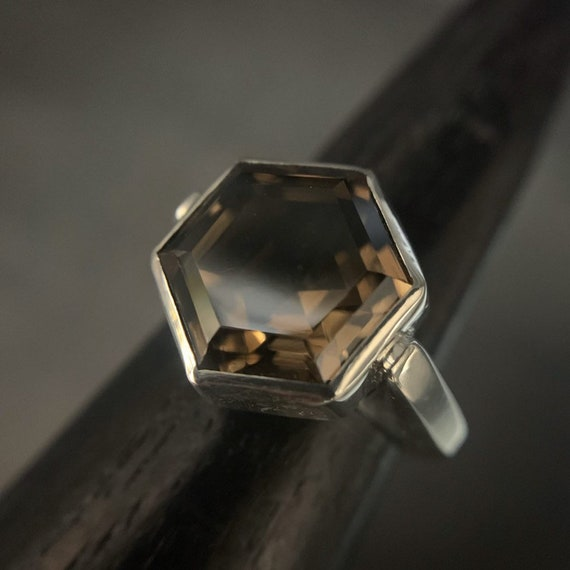 Smoky Quartz Hexagon ring - size 8.5, sterling silver