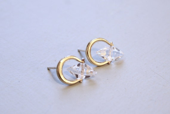 Crescent Spinner Studs - brass with CZ