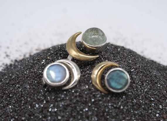 Moon Phase rings - aquamarine and labradorite