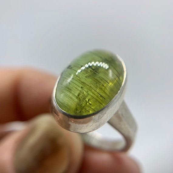 Cats Eye Tourmaline ring, sterling silver, size 6.5