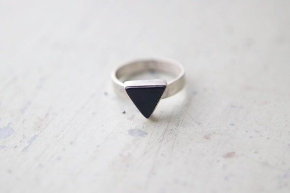 Black Onyx Triangle ring
