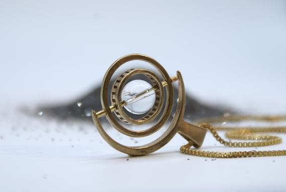 SALE -  quartz Gyroscope necklace