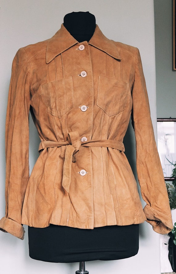 70s goatskin - leather jacket in soft brown / with