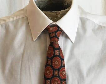 Vintage 80s Necktie Hand blocked Medallion Print 1003c91f9