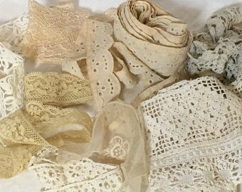 Mixed Lot / Grab Bag style of 7 pieces of lace, all used, for dolls, collage, millinery, scrapbooks.  30s through 70s.  All for One Price