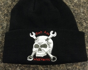 Embroidered Bad Ass Mechanic skull Beanie