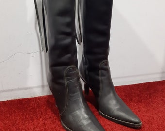 Vintage 90s Coach Made in Italy Black Leather Boots Stiletto Heel Pointed Toe sz. 9B