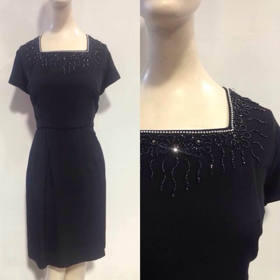 50s Embellished Black Dress