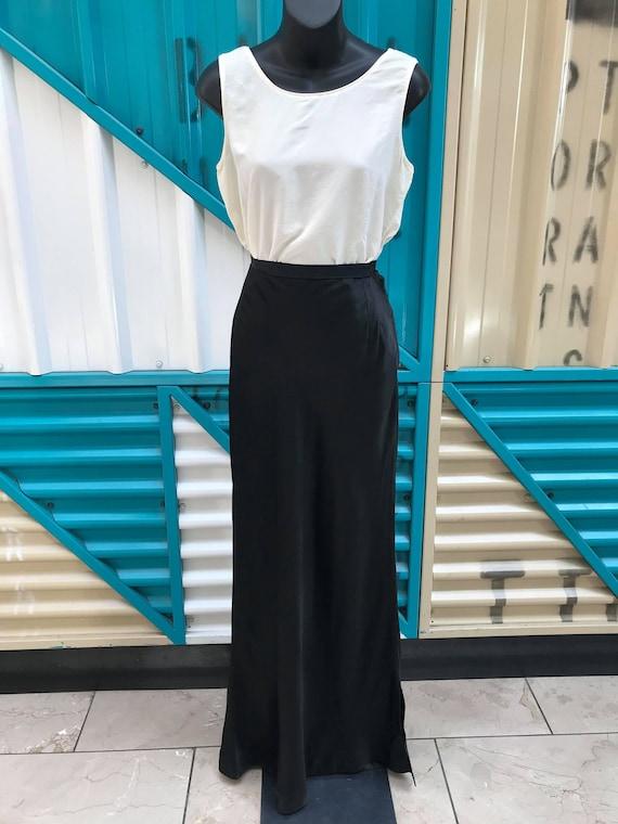 Original 1930s Black Liquid Satin Skirt