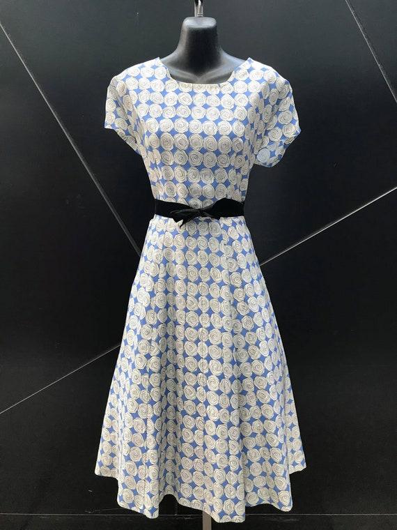 "1950s ""Ann Kauffman"" Rose Print Rayon Dress"