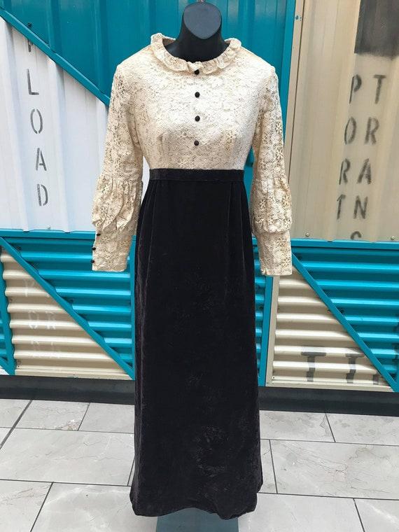 60s 70s Lace & Brown Velvet Prairie Dress