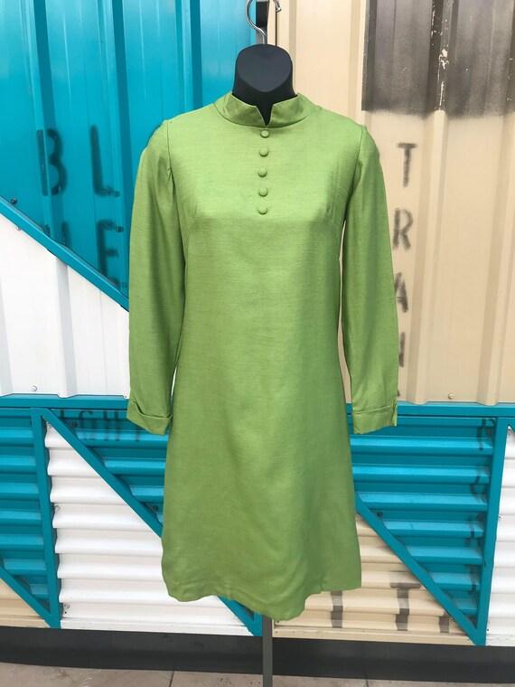 1960s L/S Mod Dress - PeaGreen