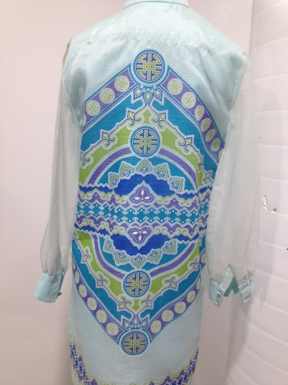 1960s  'Alfred Shaheen' Chiffon Print Shift Dress - image 3