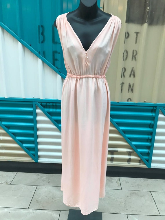 Vintage 40s 50s Baby Pink Rayon Nightgown