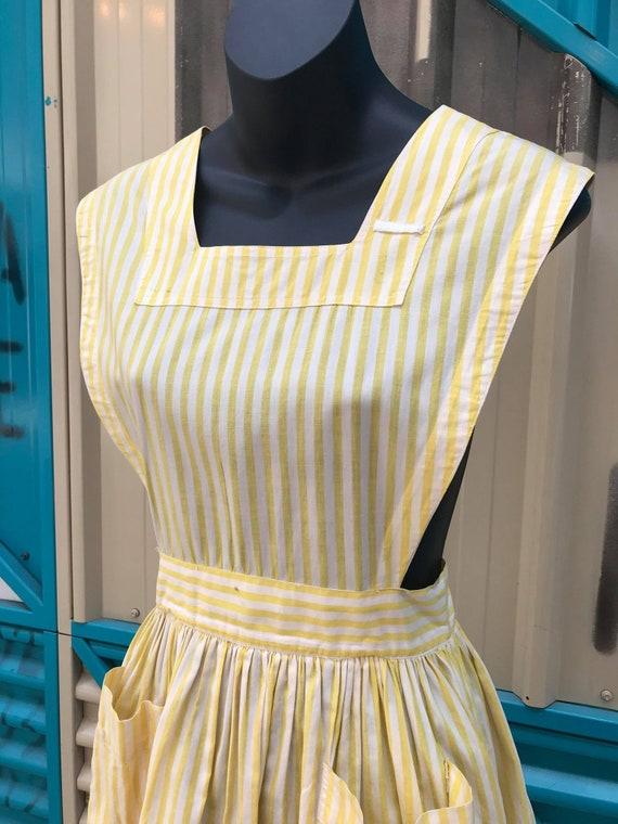 """1940s """"Altro"""" Yellow & White Striped Pinafore Dre… - image 2"""