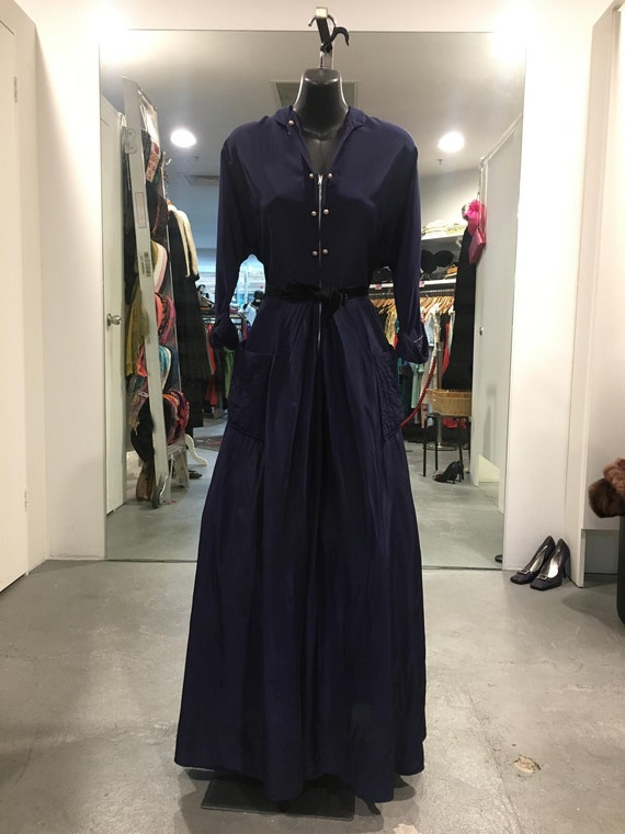 1940s Navy Blue Rayon Gown