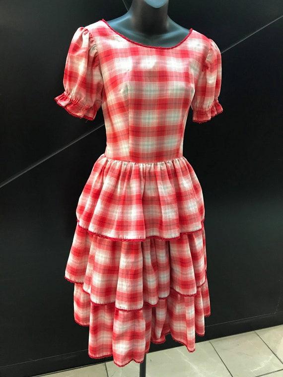 """1950s """"H Bar C"""" Red Gingham Prairie Dress"""