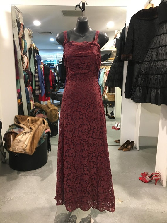 1930s Burgundy Lace Gown