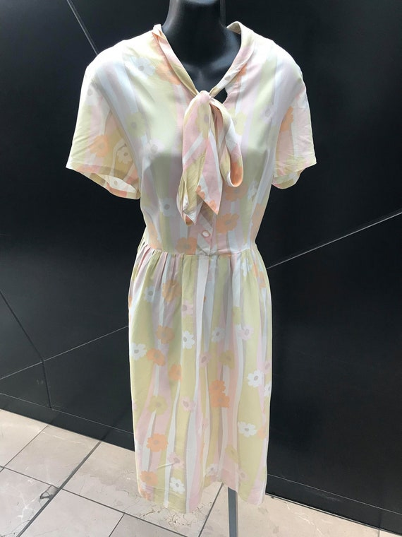 1960s Pastel Floral Print Day Dress