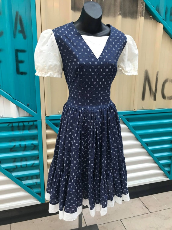 Vintage Navy Blue With White Heart Print Prairie D