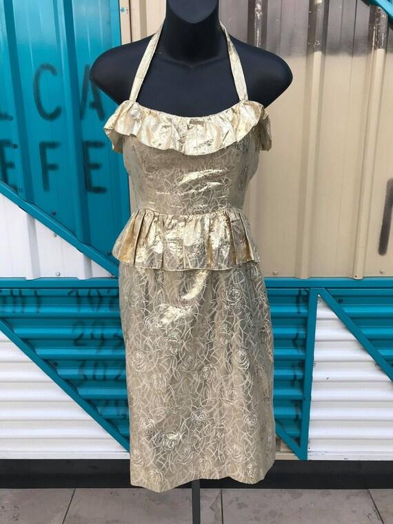 1950s Gold Lamé Halterneck Wiggle Dress