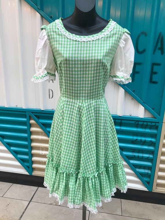 1960s Green & White Gingham Prairie Dress with Lac