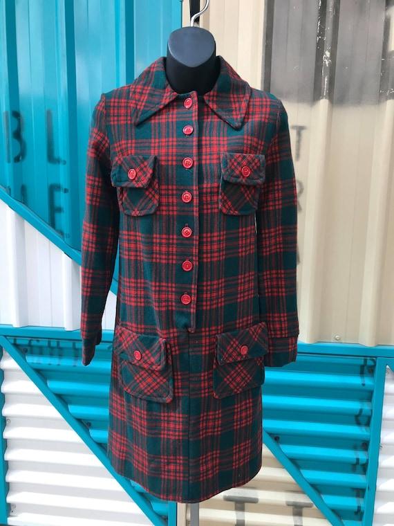 "1970s ""At Ease"" Tartan Wool Shirt Dress"