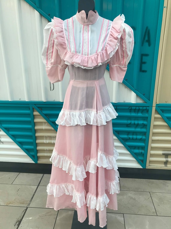 Dreamy 1970s Baby Pink Prairie Dress