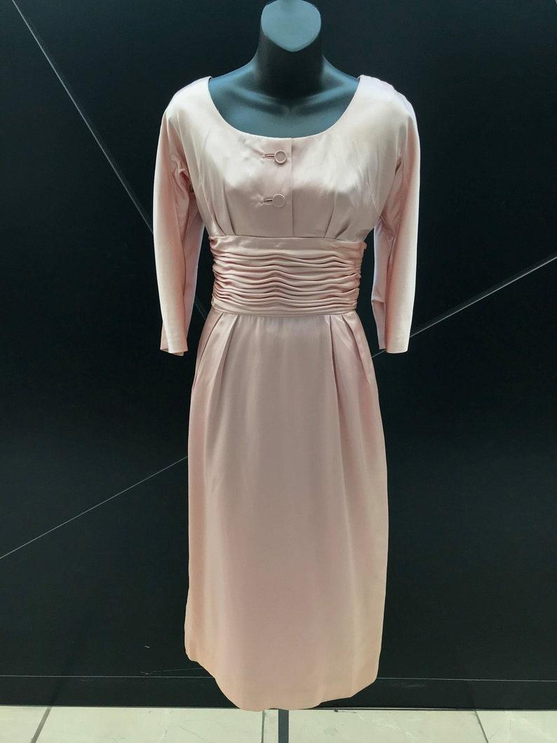 1950s Maggi Stover Baby Pink Silk Satin Dress