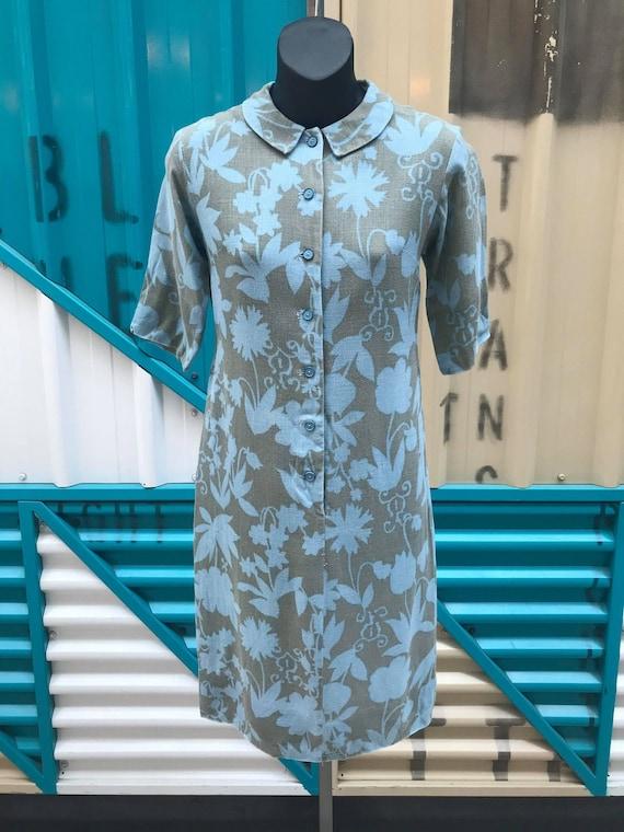 """1960s """"Helen Whiting Inc."""" Linen Shirt Dress"""