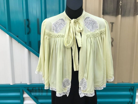 Beautiful 1940s Chartreuse Rayon Bed Jacket with L