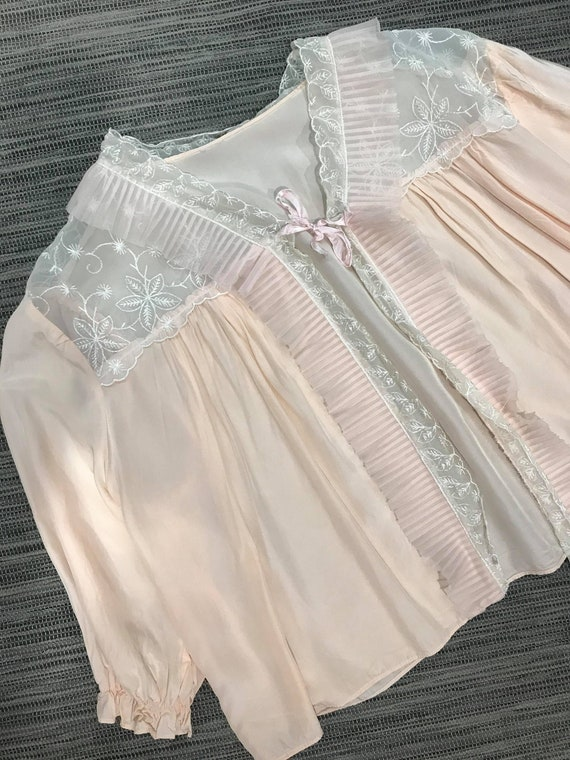 Gorgeous 1930s Peach Satin Bed Jacket with Sheer F