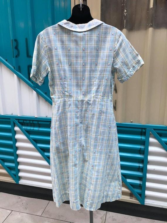 1940s Pastel Plaid Cotton Day Dress - image 6