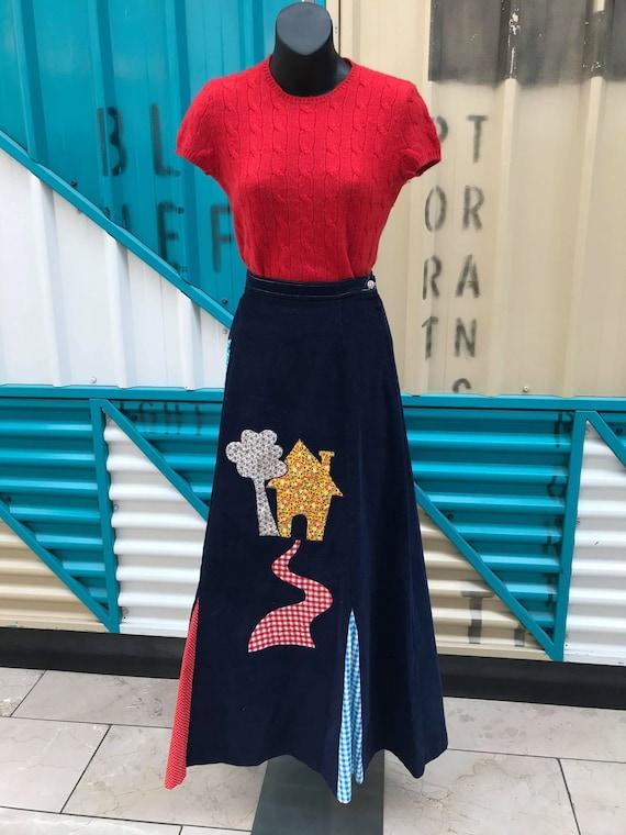 1970s Navy Corduroy Appliqué Maxi Skirt